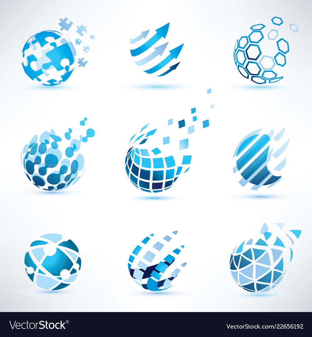 Abstract globe and puzzle symbol setcommunication