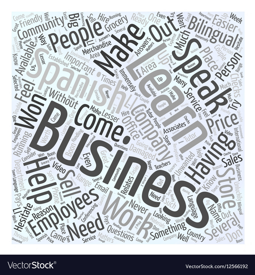 business people learn spanish for work word cloud vector image