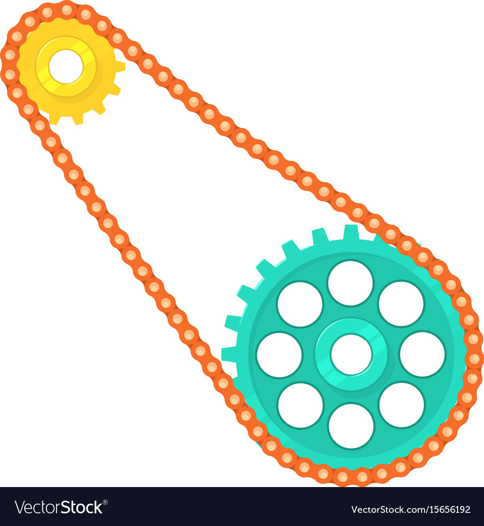 Chain with cogwheels icon cartoon style