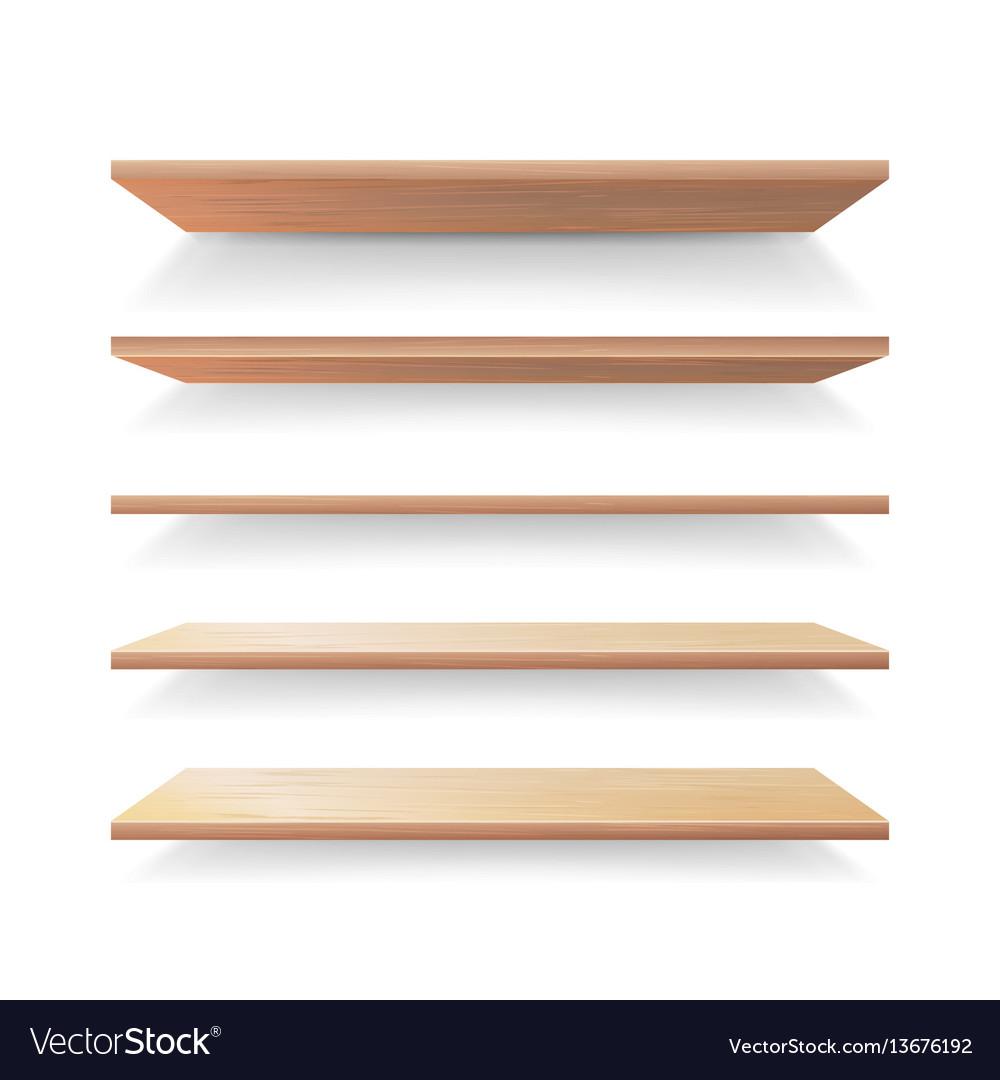 Empty wood shelves template set realistic