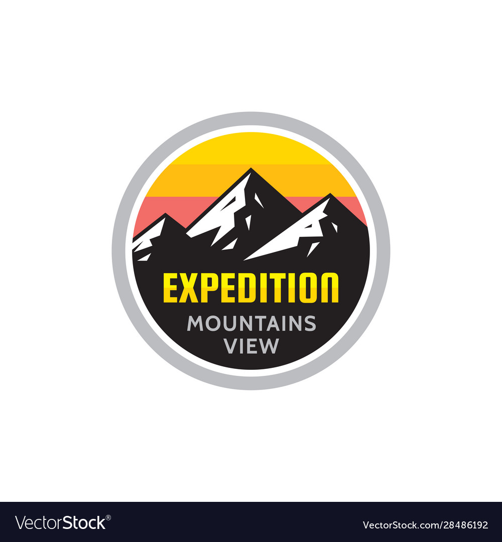 Expedition mountains view - concept badge