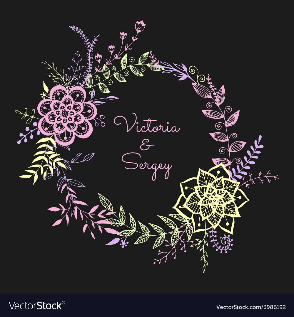 Floral wreath on dark background