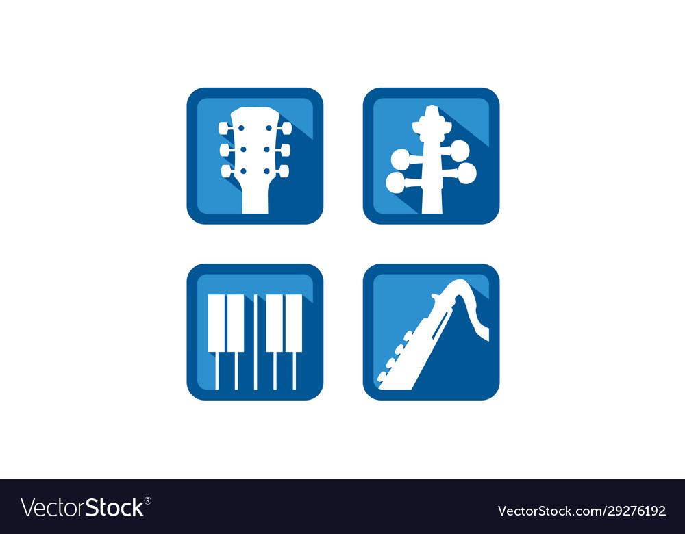 Guitar violin piano flute music instruments logo