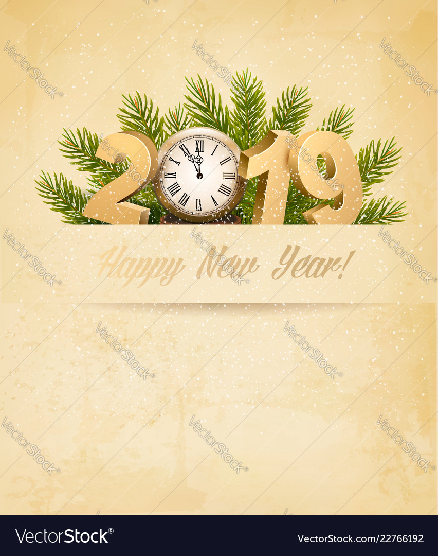 Happy new year 2019 background with tree and