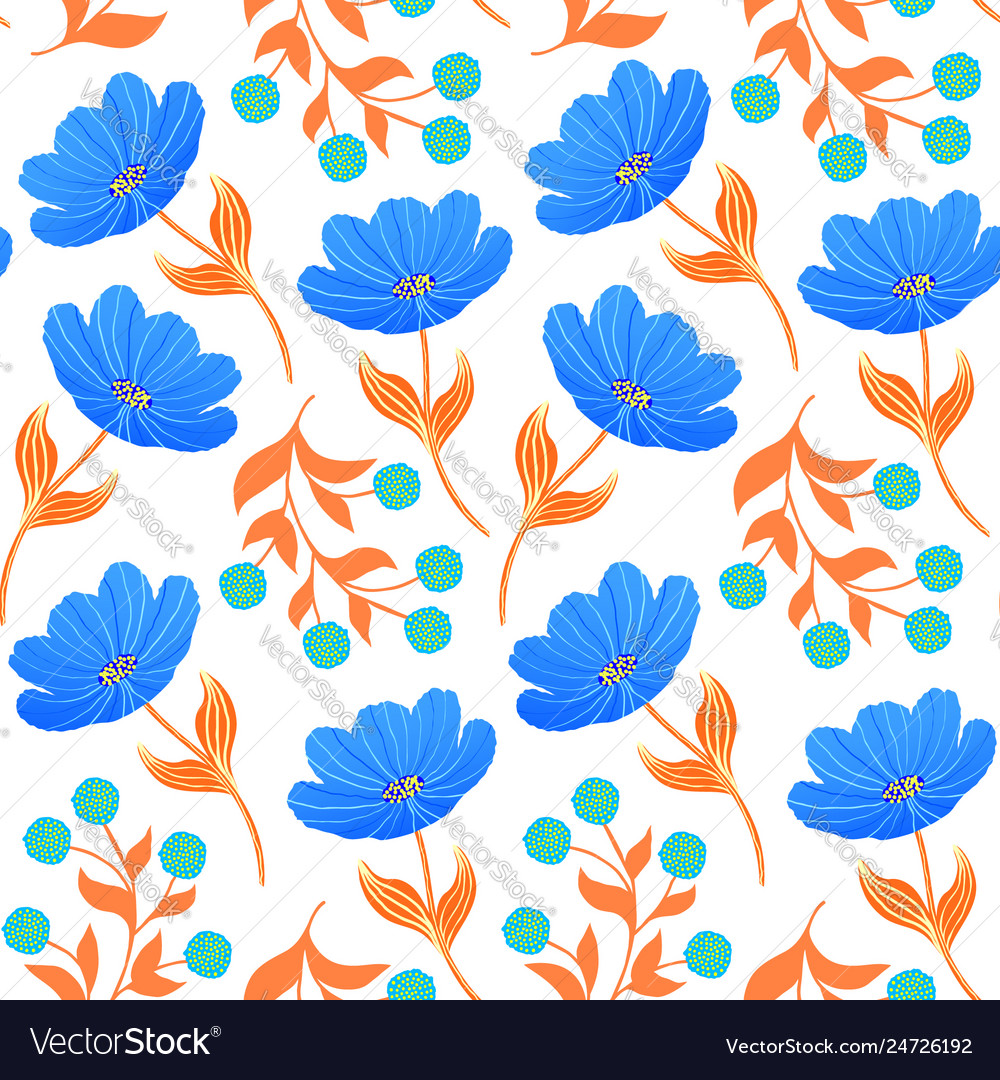 Pattern with blue tulips