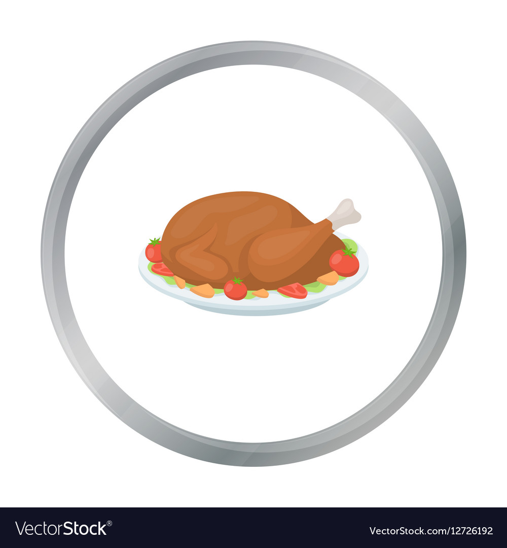 Roasted turkey icon in cartoon style isolated on vector image