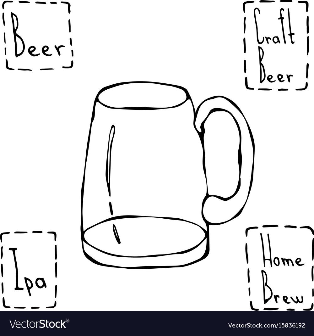 Vintage beer mug hand drawn