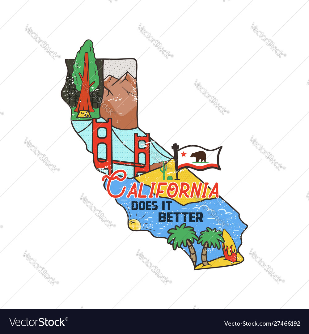 Vintage california map badge with tourist