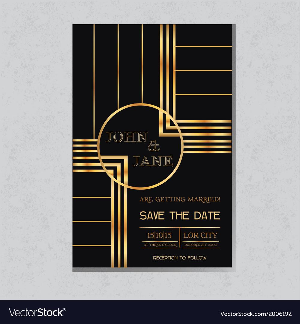 Wedding Invitation Card in Art Deco Design