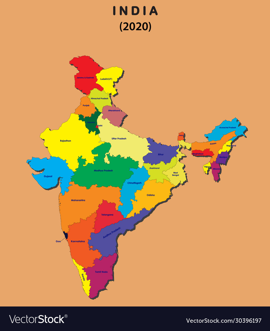 recent map of india 2020 3d Map India All New States Name In India With Vector Image recent map of india 2020