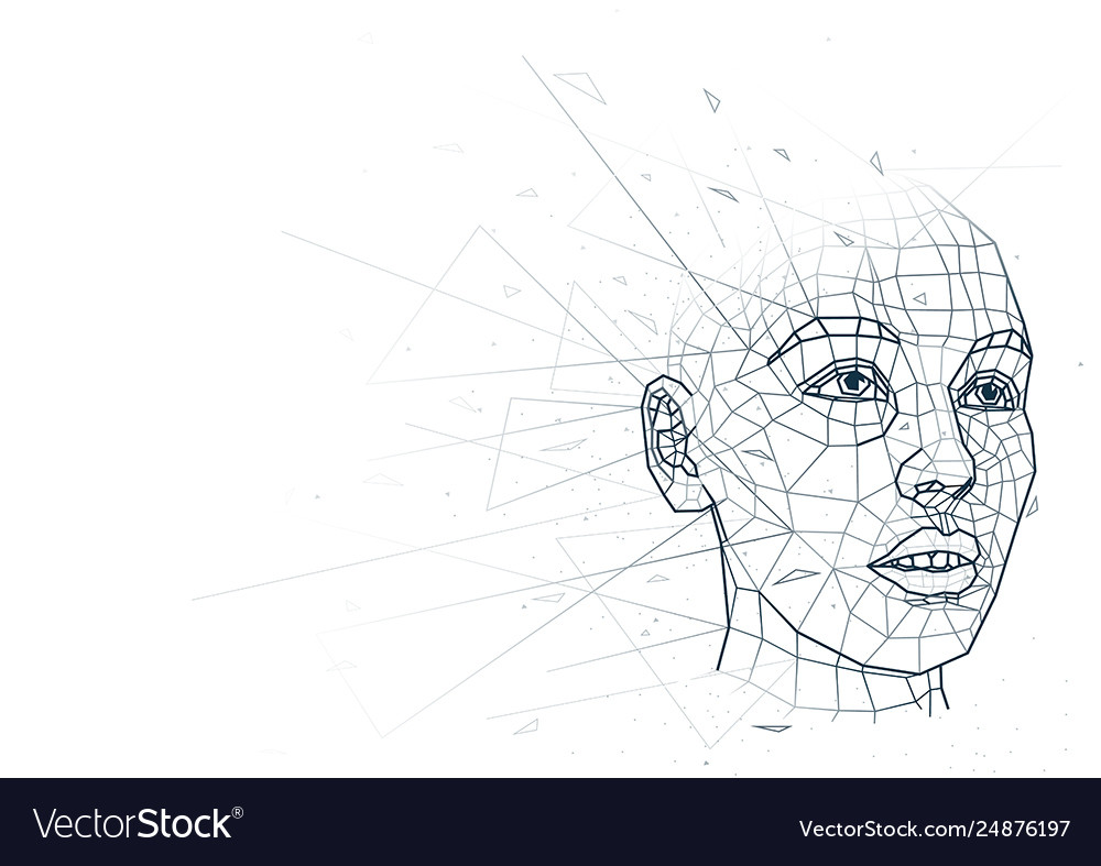 Abstract human head low poly wireframe