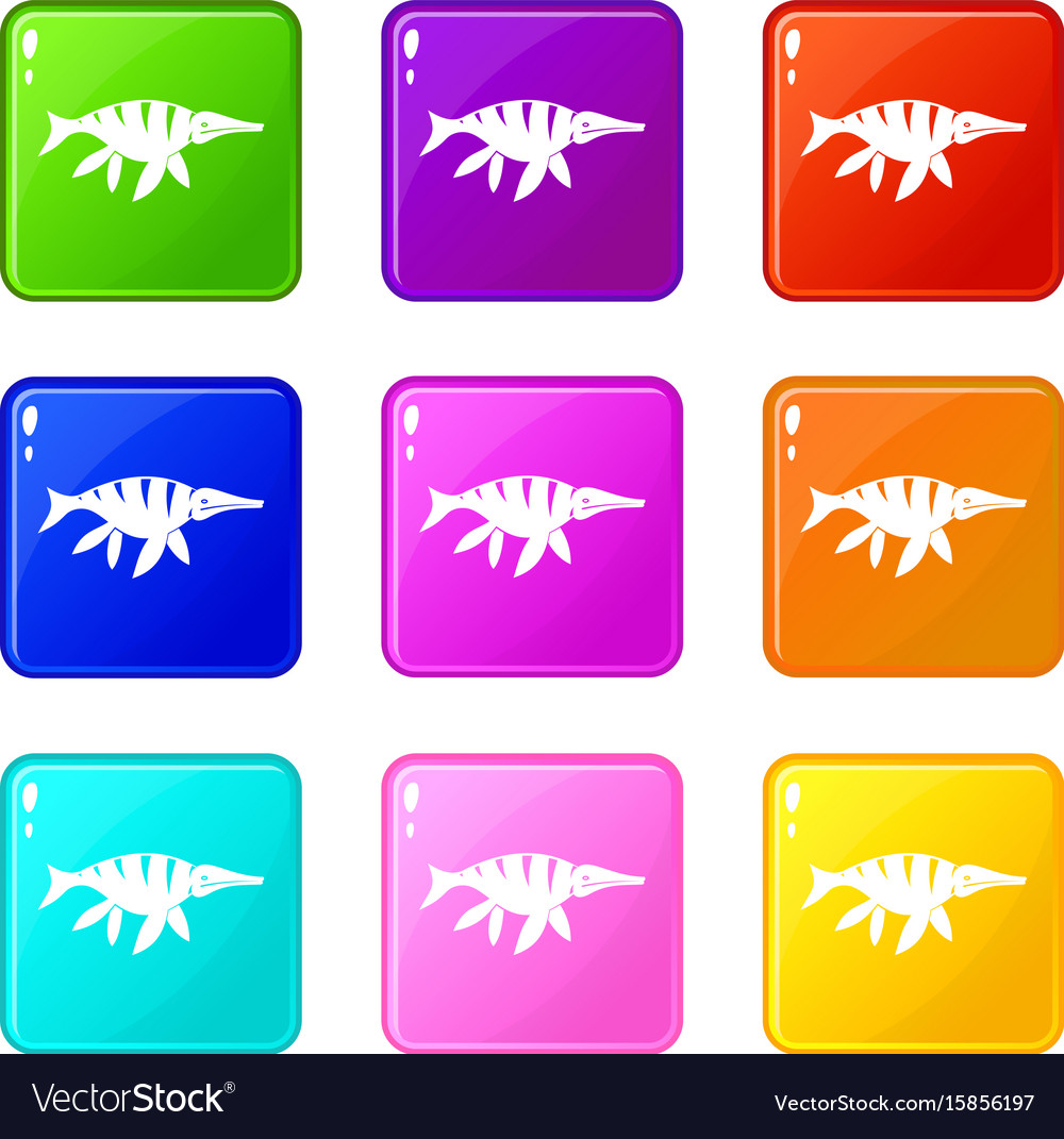Aquatic dinosaur icons 9 set vector image