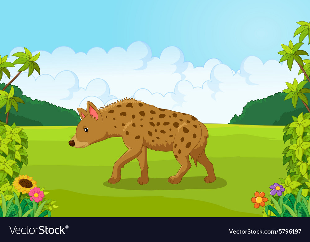 Cartoon hyena from the side