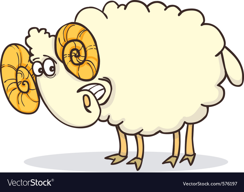 Cartoon of funny happy ram