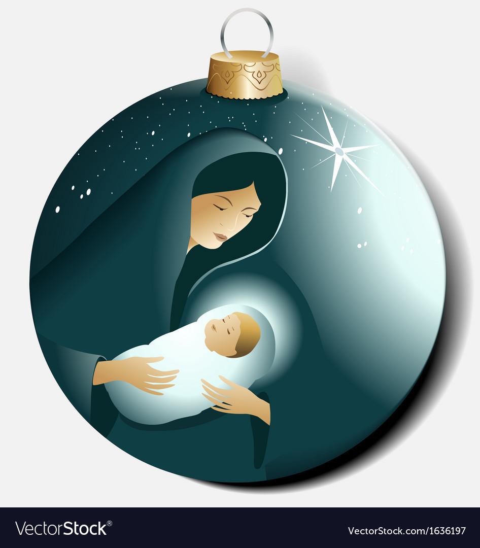 Christmas ball with Maria and Jesus