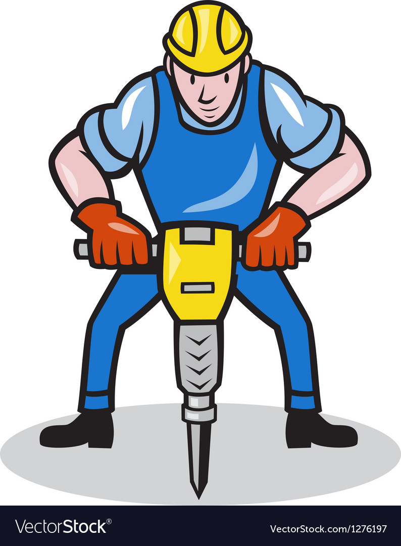 Construction Worker Jackhammer Pneumatic Drill vector image