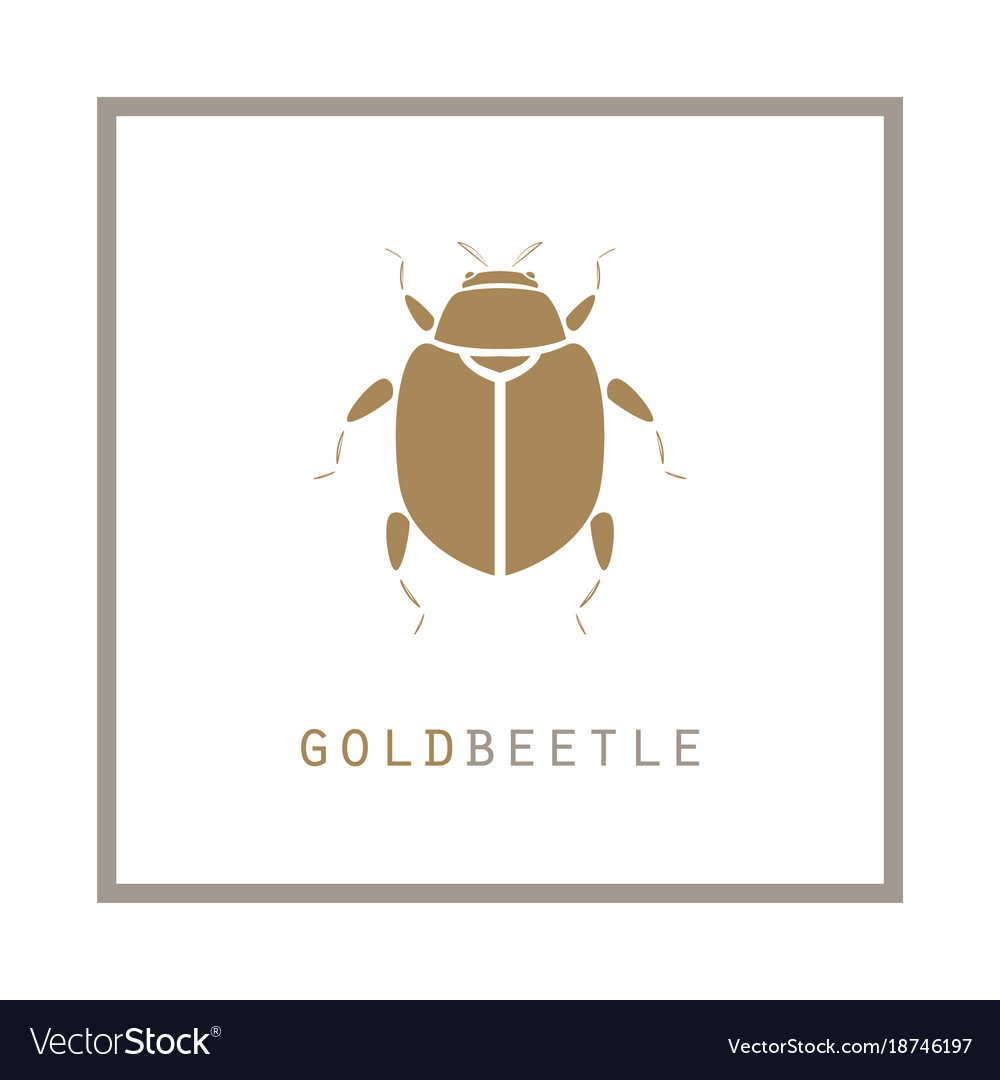 Gold beetle in a frame emblem