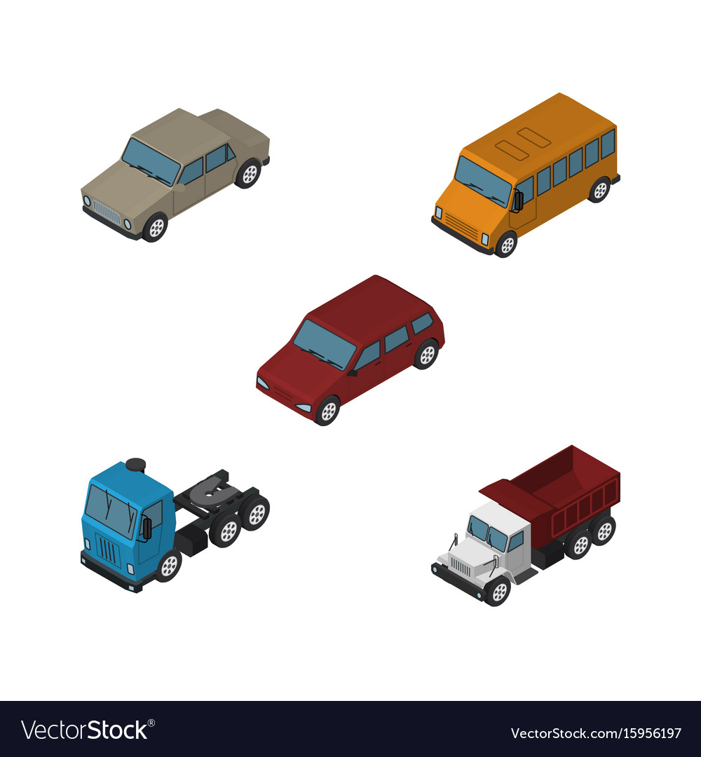 Isometric car set of freight truck car and other