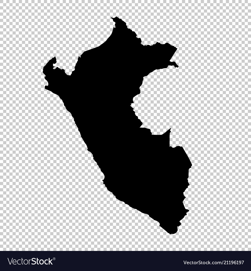 Map peru isolated black on