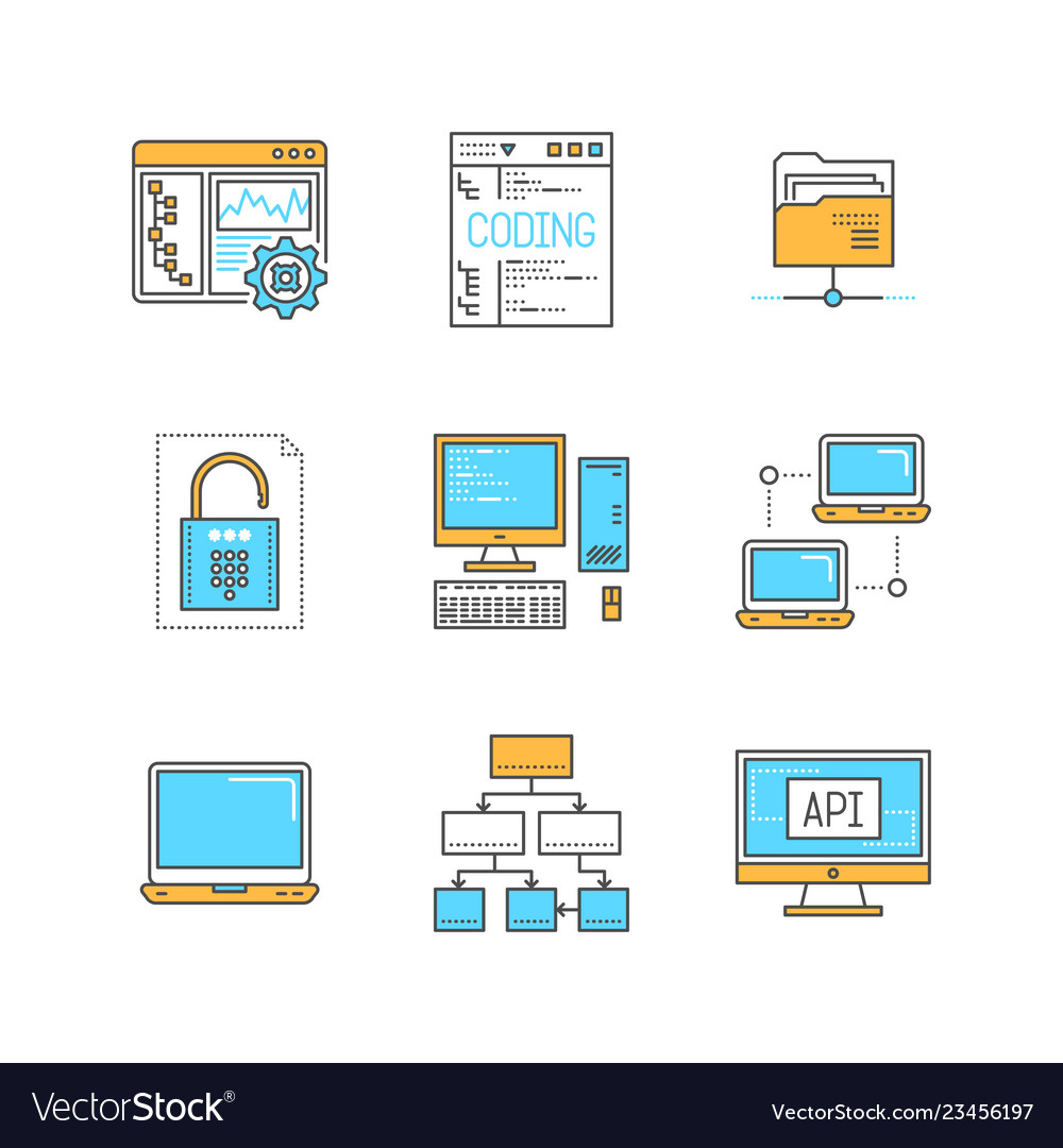 Minimal lineart computers and programming iconset