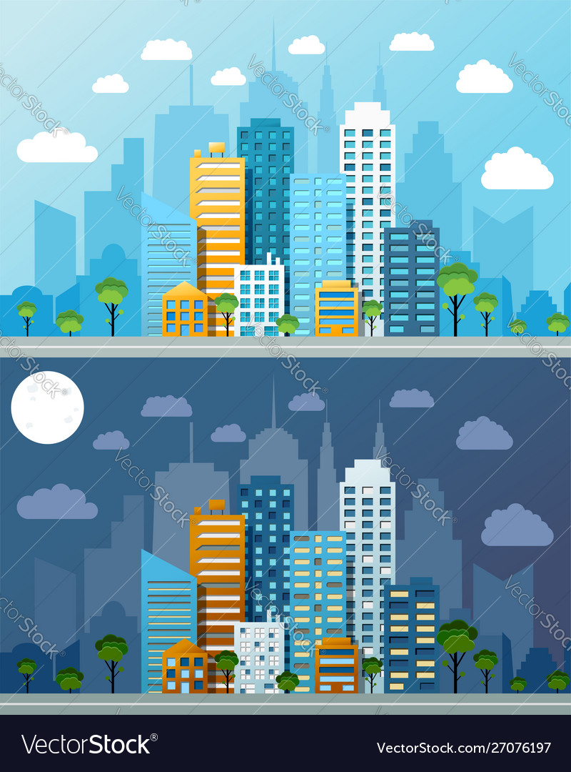 Night and day cityscapes composition