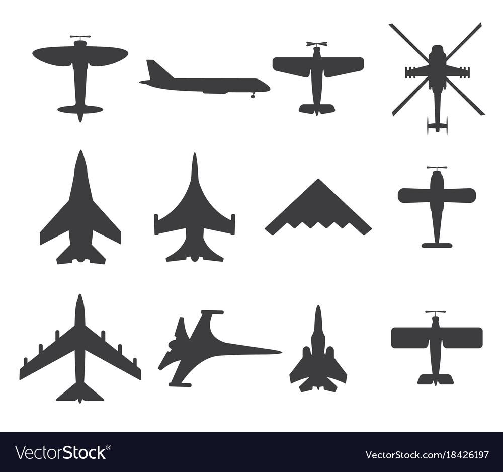 Planes icons set on white background