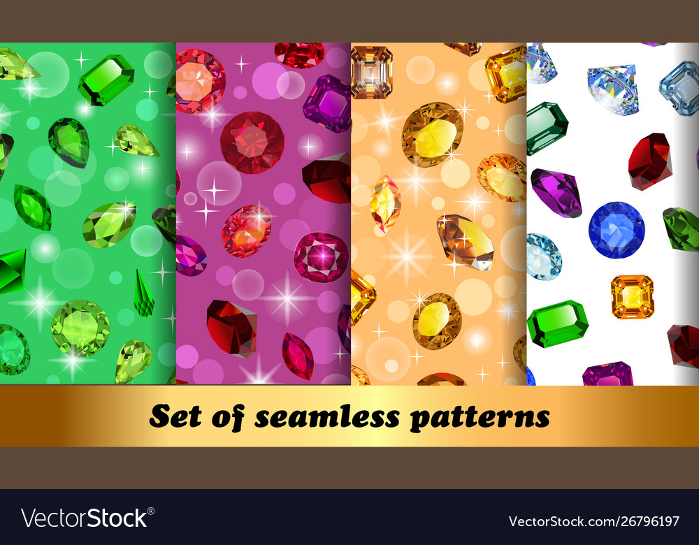 Set seamless patterns with jewelry gems