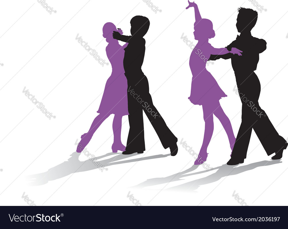Silhouettes of kids dancing ballroom dance vector image