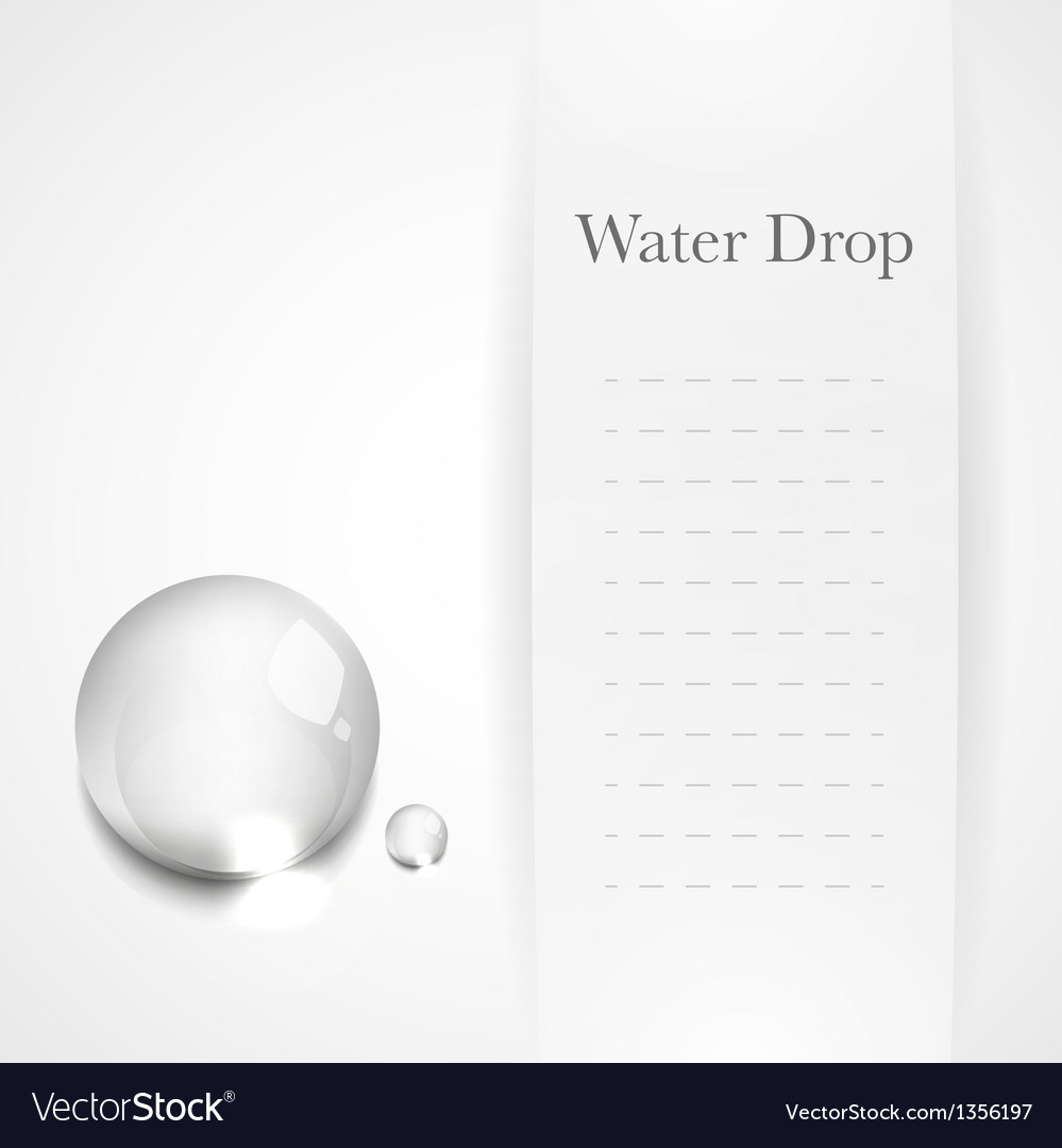 Transparent water drop on light gray background