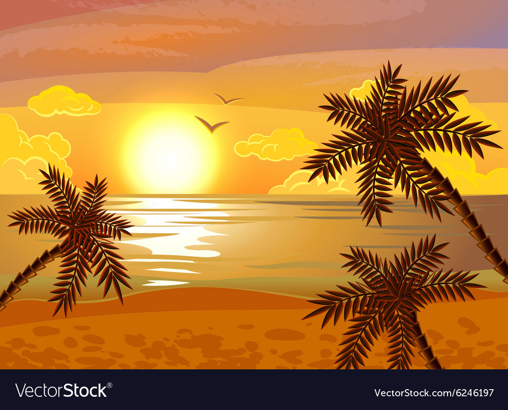Tropical beach sunset poster vector image
