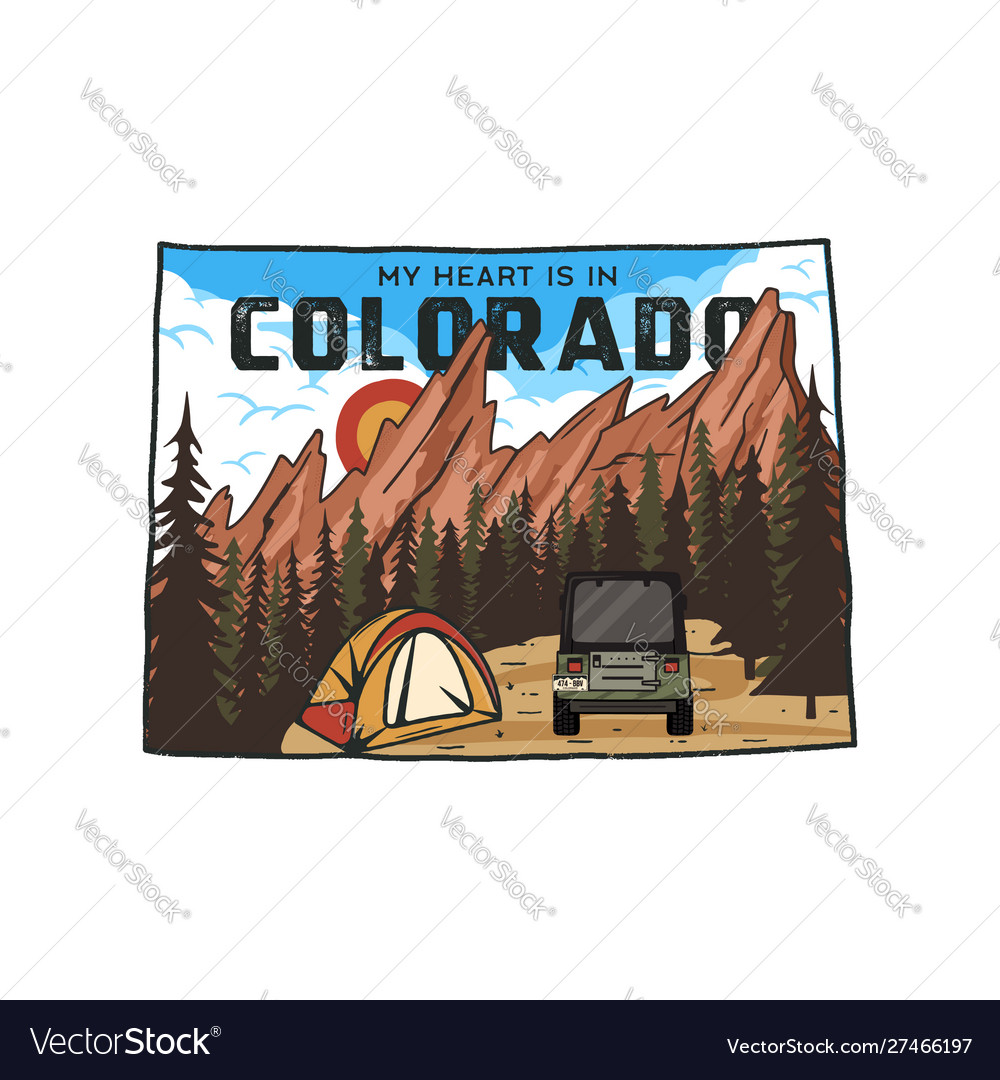 Vintage colorado camp badge with tourist
