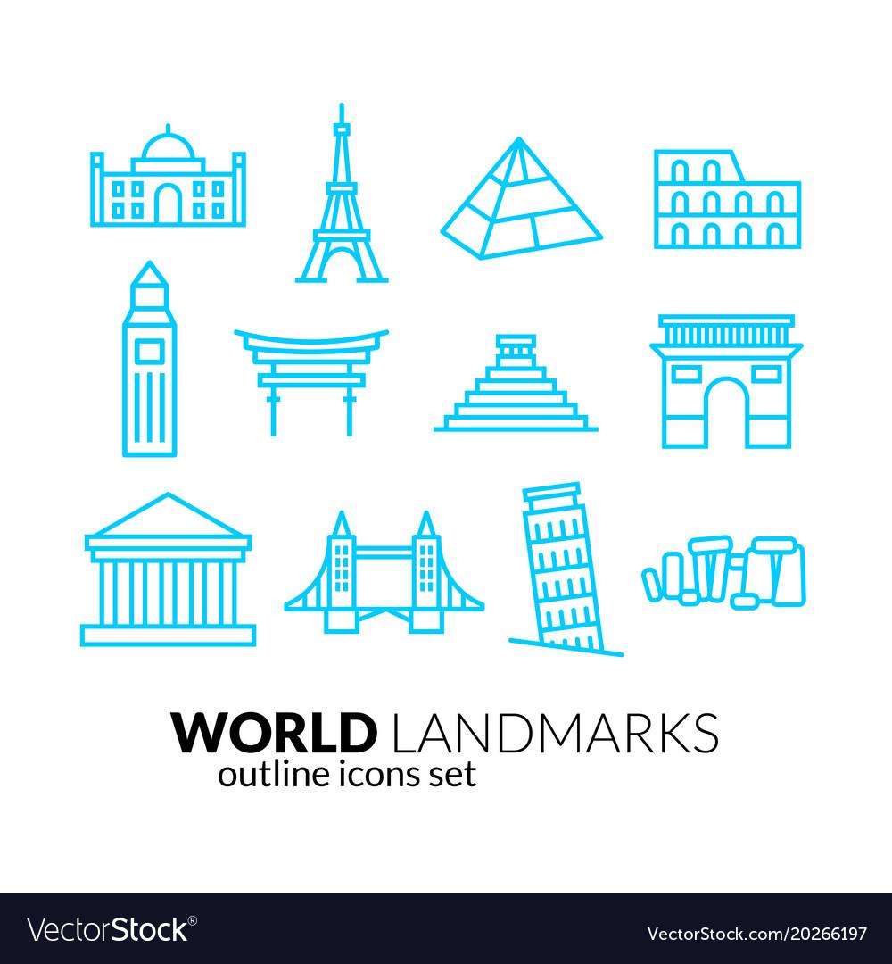 World landmarks outline icons set