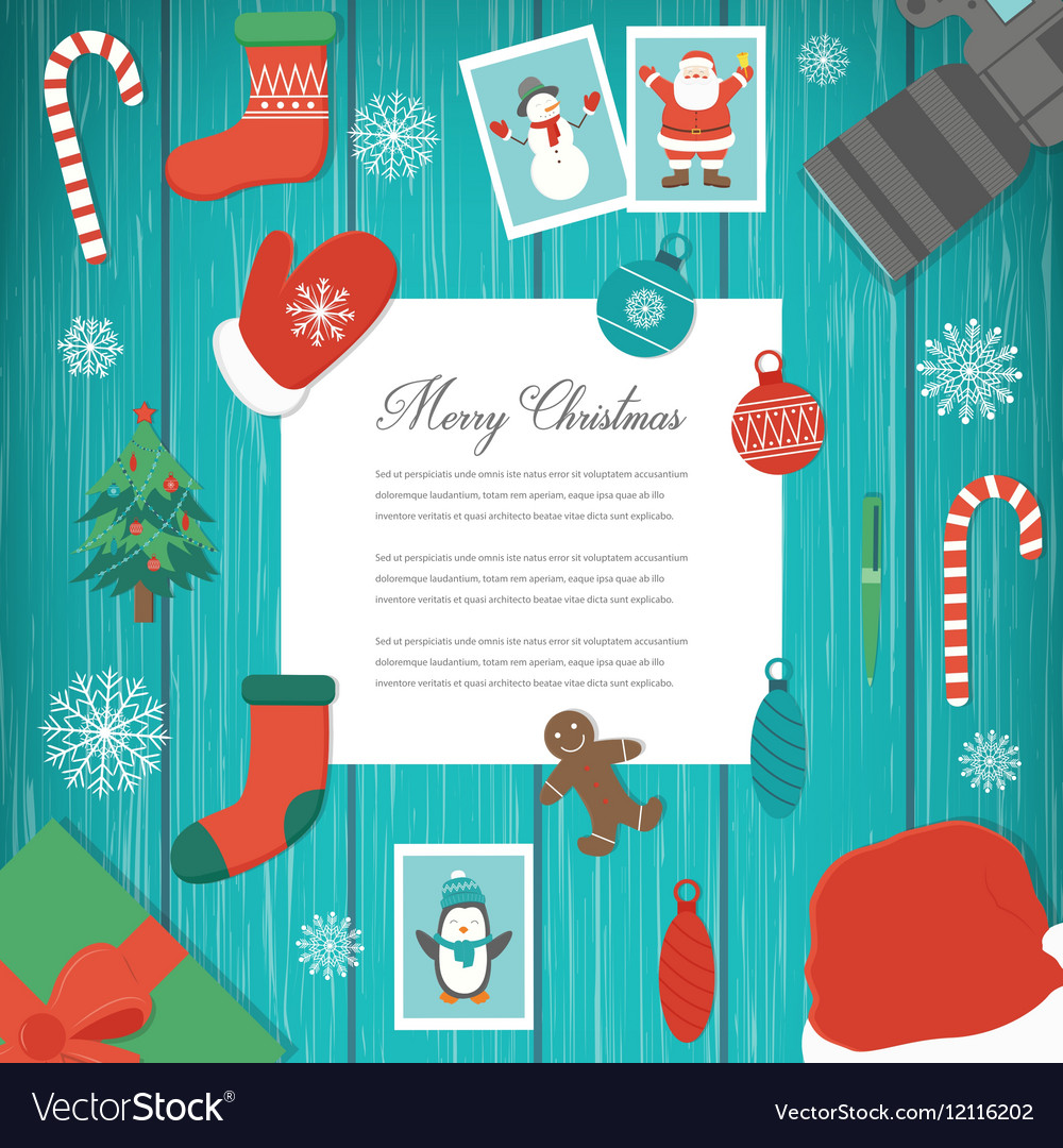 Christmas greeting card with snowlakes and vector image
