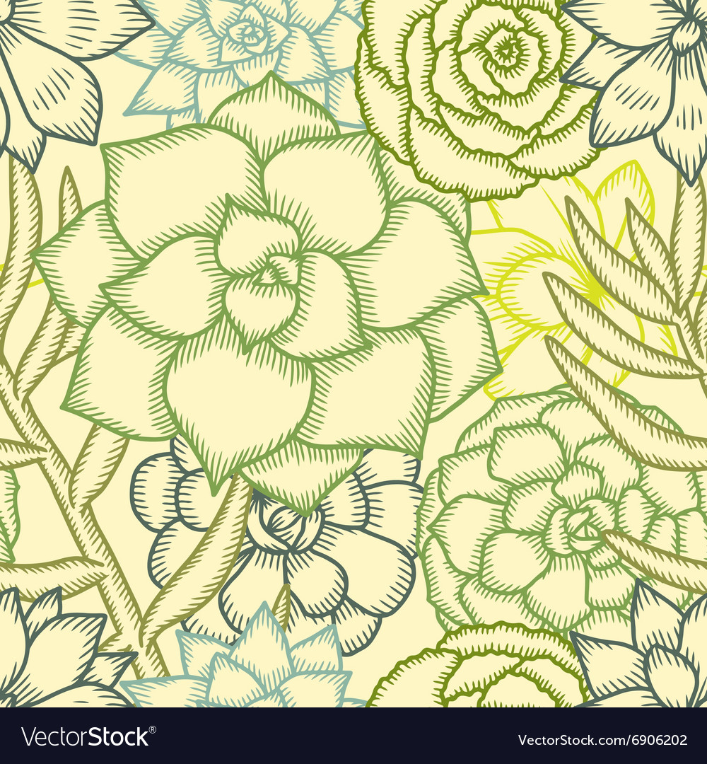 Hand drawn succulents seamless pattern