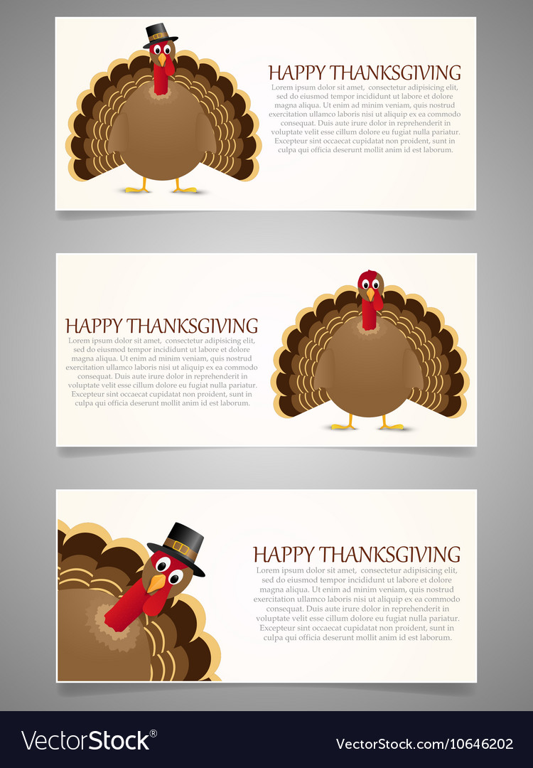 Happy Thanksgiving banner set with turkey