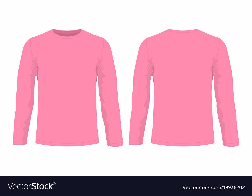 3009a7c1 Mens pink long sleeve t shirt Royalty Free Vector Image