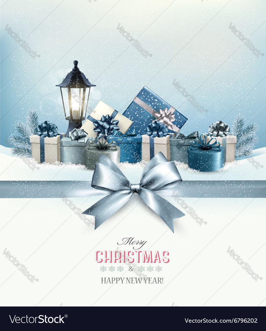 Merry Christmas card with a ribbon and gift boxes
