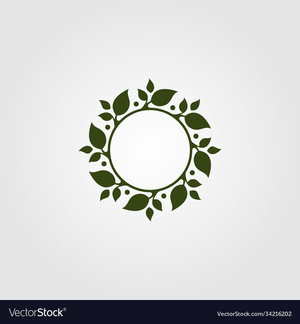 Nature leaf circle symbol design green leaf logo