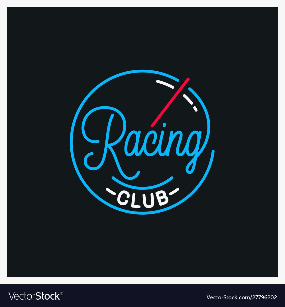 Racing club logo round linear logo speed