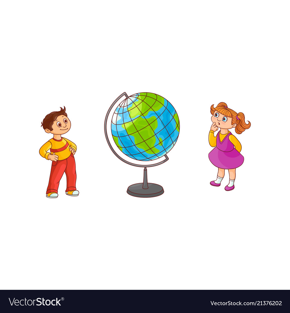 School children with globe sphere map isolated on