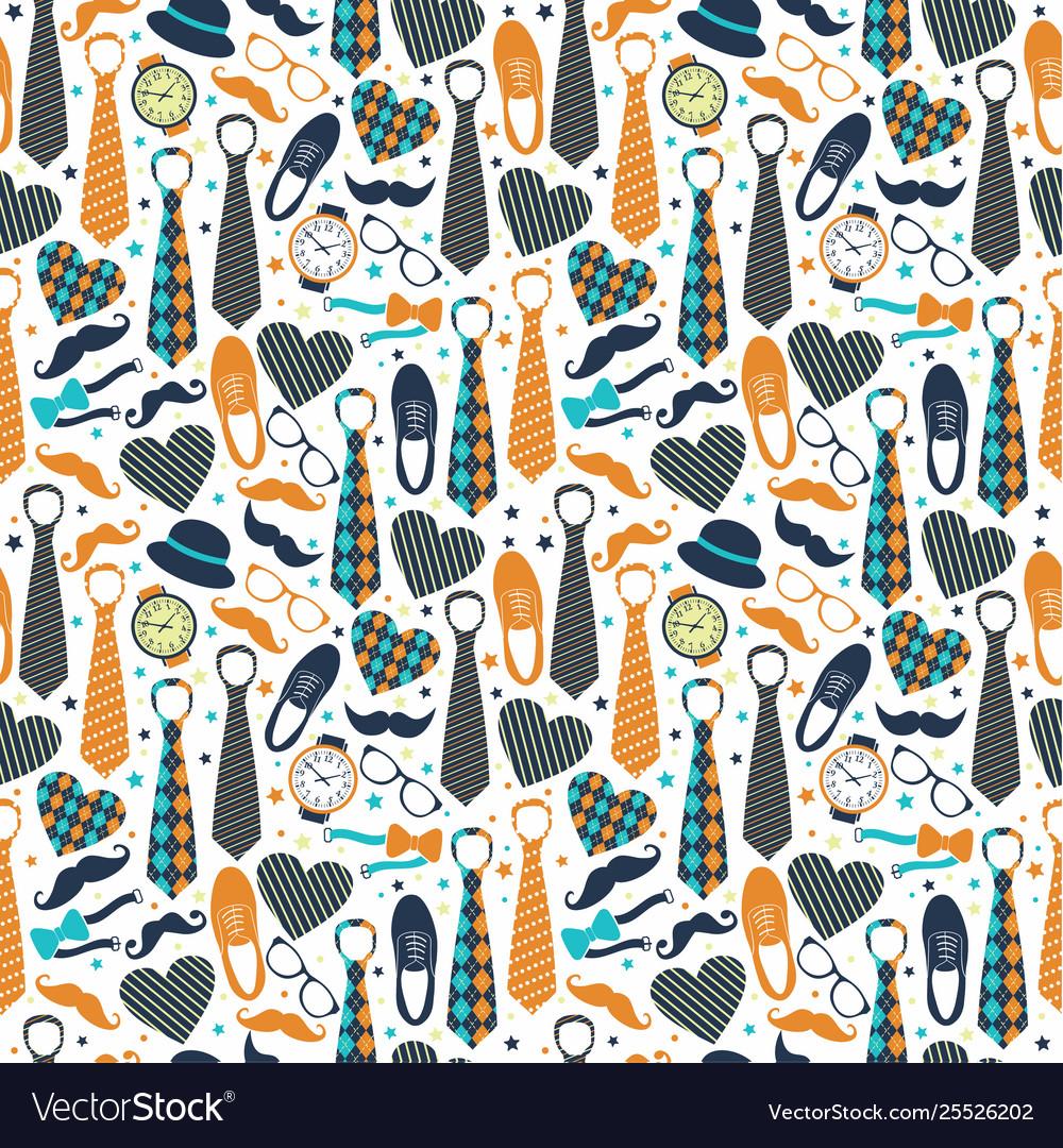 Seamless pattern fathers day flat set icons on