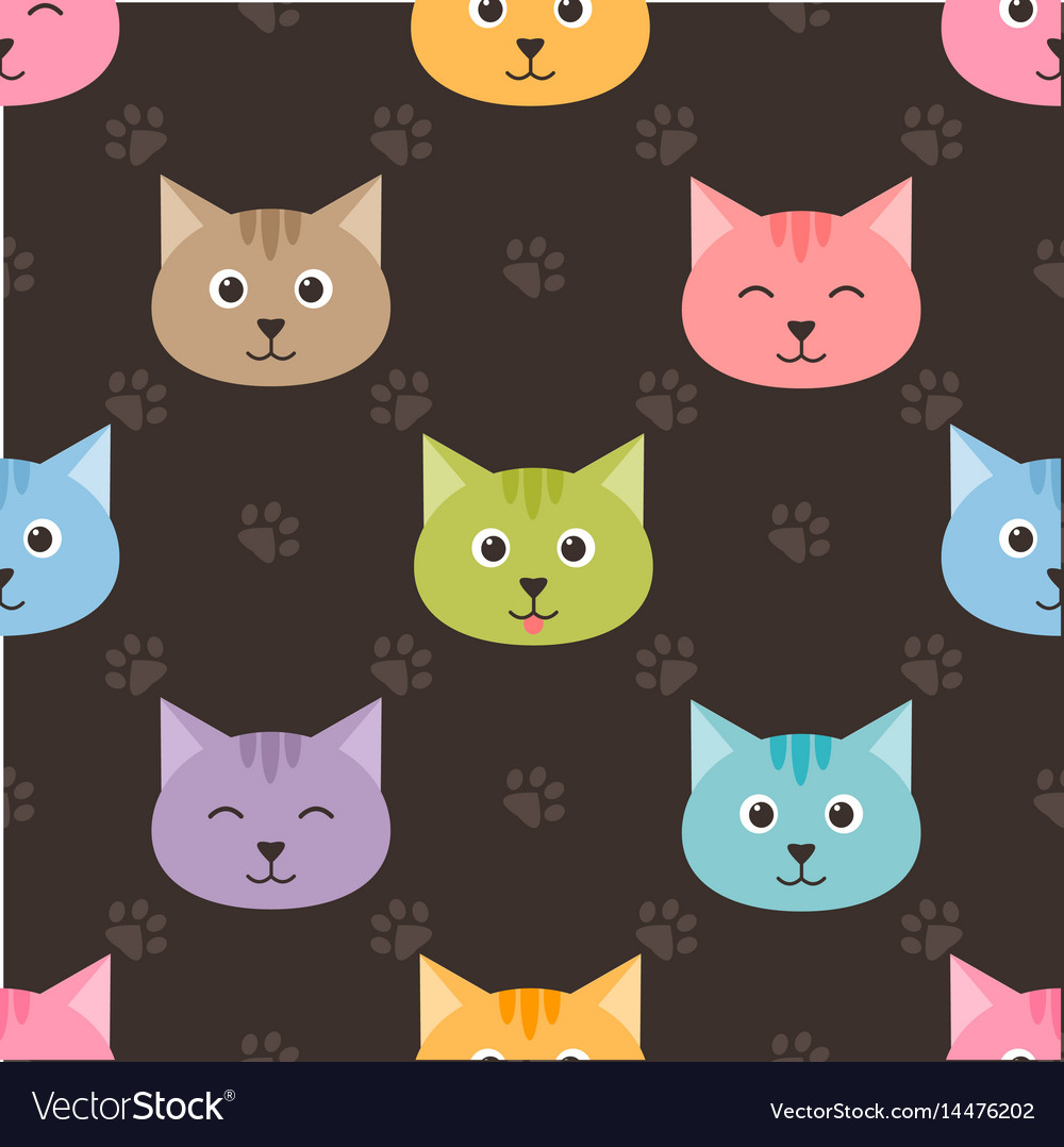 Seamless pattern with cartoon cats and footprints