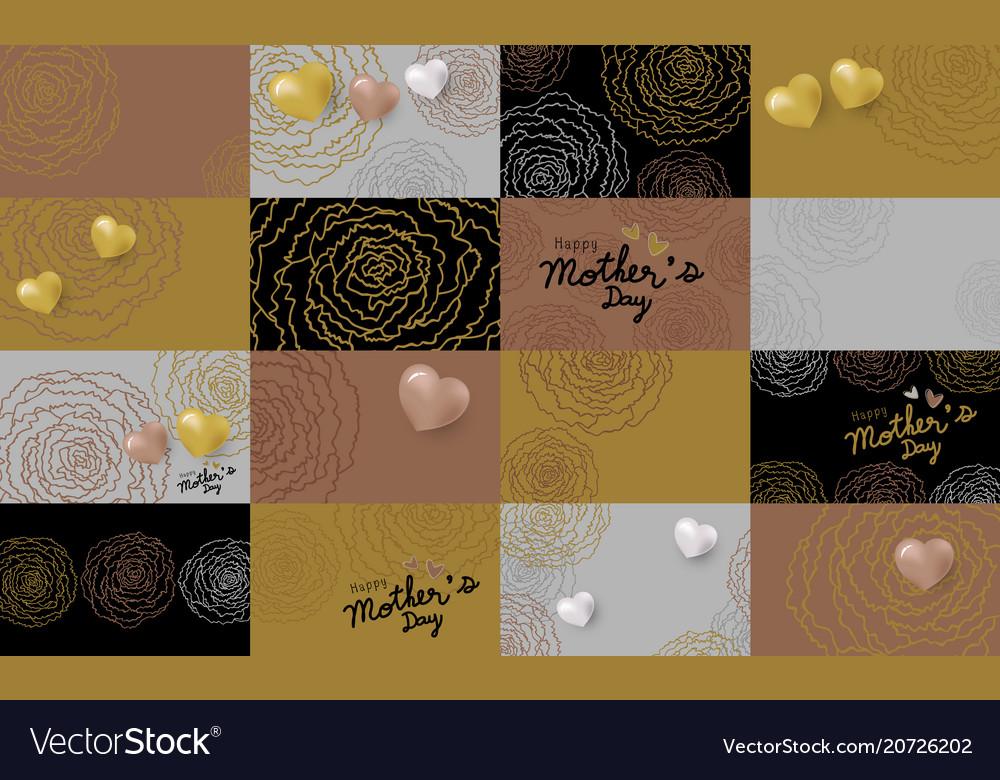 Set of mothers day card design of carnation flower