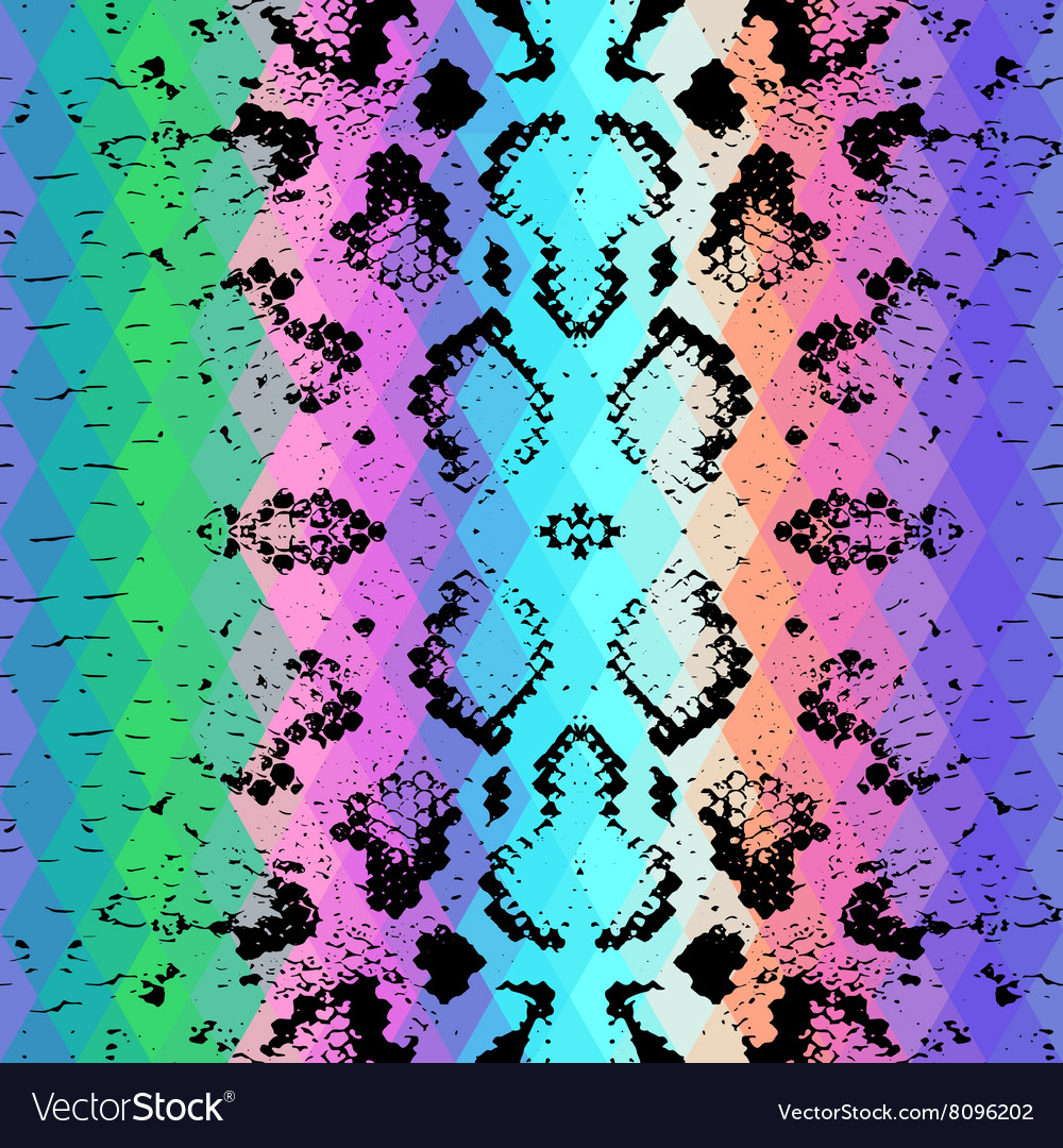 Snake skin texture with colored rhombus vector image