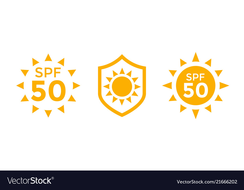 uv sun protection spf 50 icons on white royalty free vector