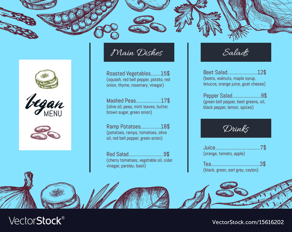 Vegan cafe menu identity hand drawn design