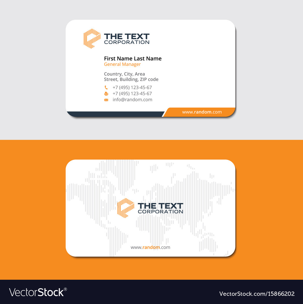 White and orange business card with world map Vector Image