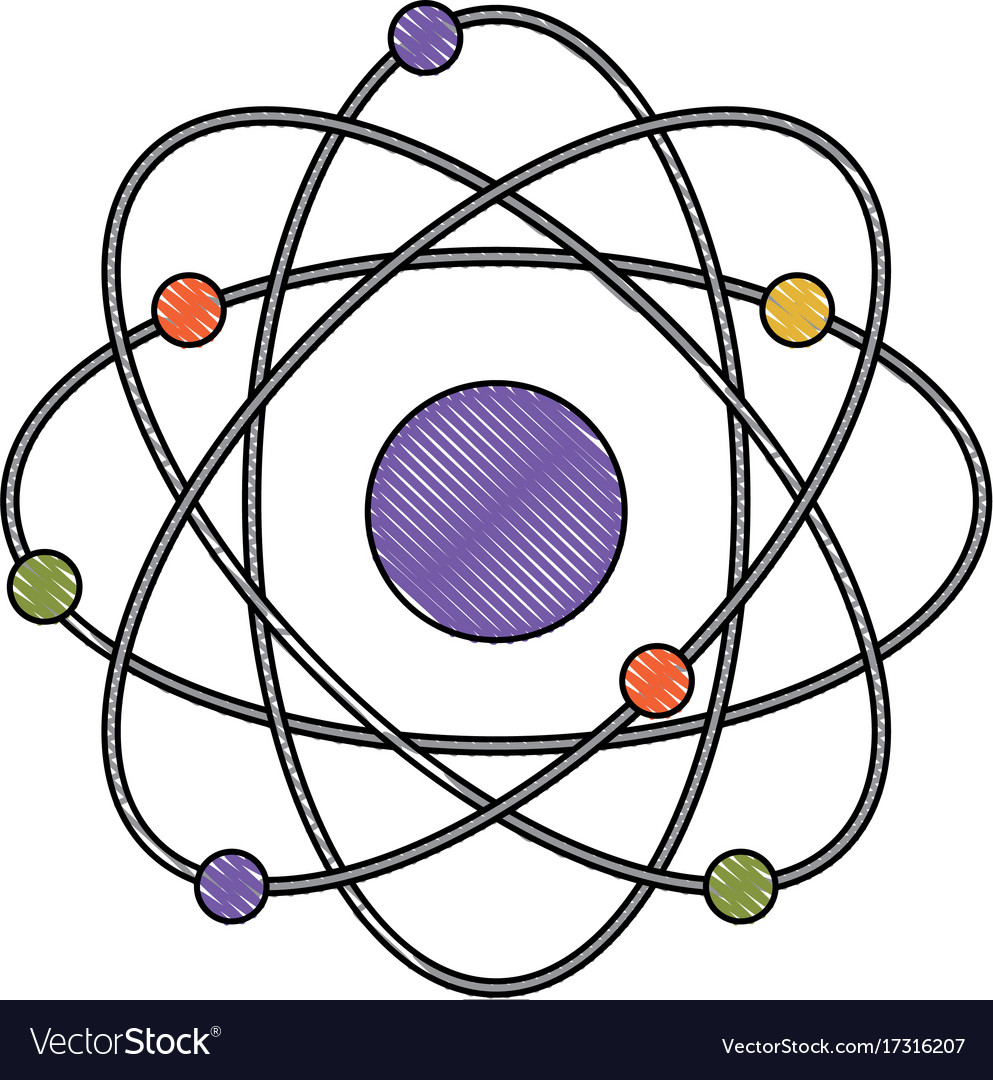 Atom in color crayon silhouette