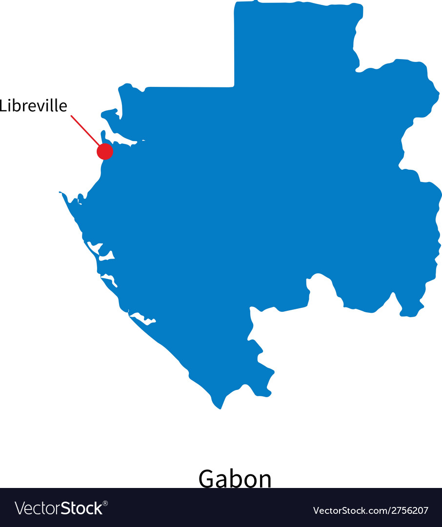Detailed map of Gabon and capital city Libreville vector image