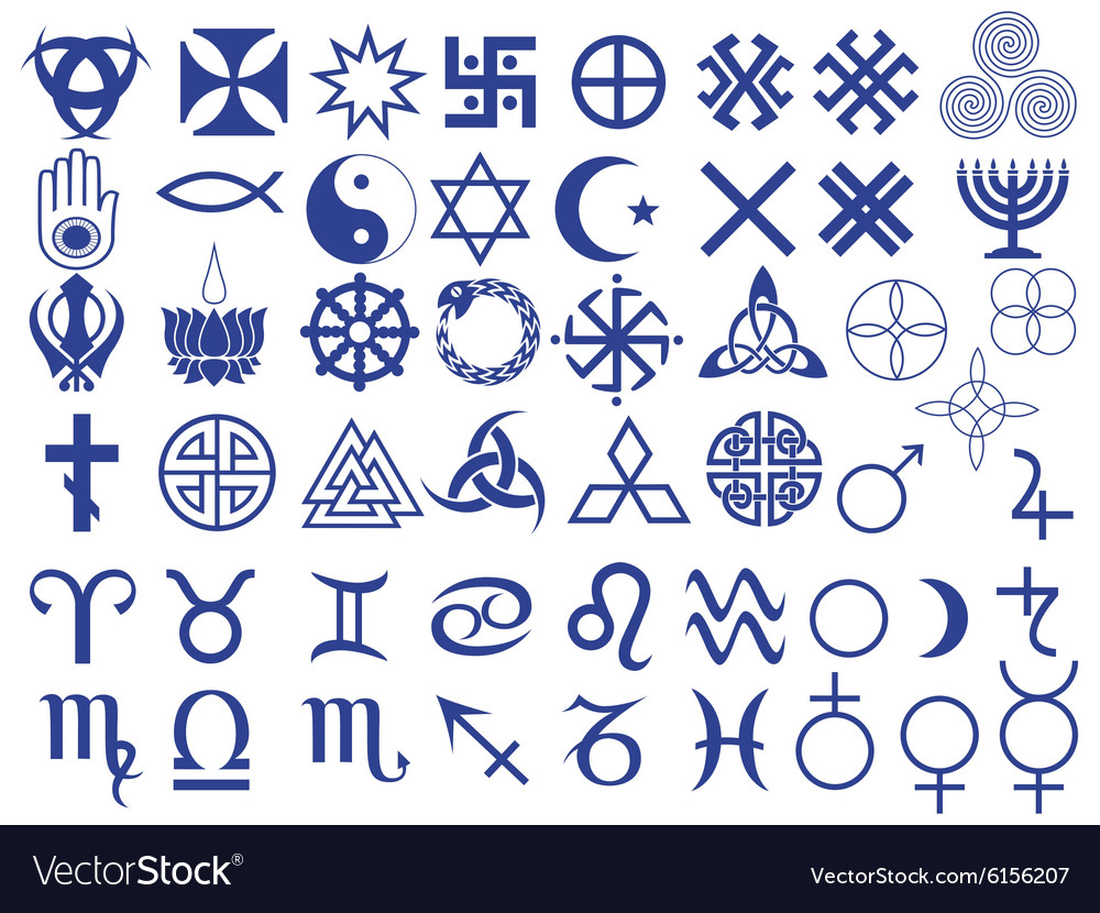 different symbols Different symbols created by mankind Royalty Free Vector